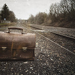 suitcase on the road